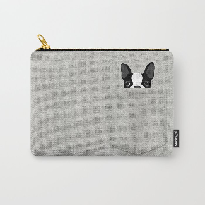 Pocket Boston Terrier - Black Carry-All Pouch