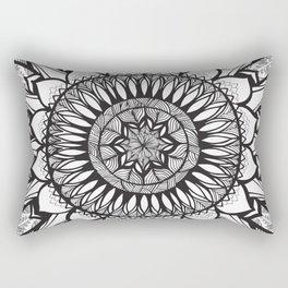 Sunflower Mandala - Black and White Rectangular Pillow