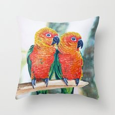 Love Bird Sweethearts Throw Pillow