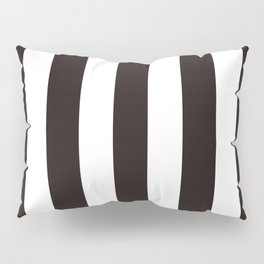 Licorice black - solid color - white vertical lines pattern Pillow Sham