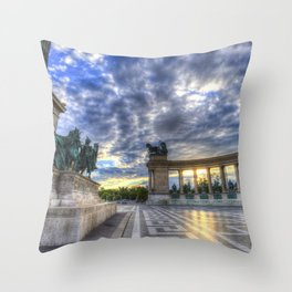 Heroes Square Budapest Sunrise Throw Pillow