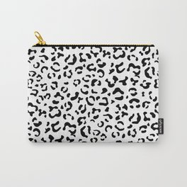 Animal Print, Spotted Leopard - Black White Carry-All Pouch