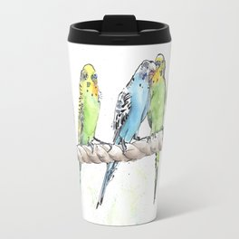 A Row of Budgerigars! Travel Mug