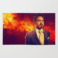 tony stark Area & Throw Rugs featuring Tony Stark - Iron Man by KanaHyde
