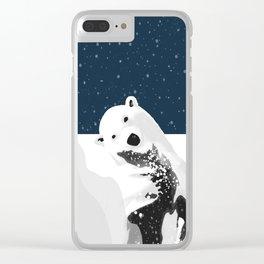 Unique Polar Bear Scene Clear iPhone Case