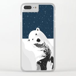 Unique Polar Bear Scene Clear iPhone Case