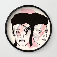bowie Wall Clocks featuring Bowie by NikkiMaths