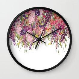 Colorful Floral Garden, Vintage Prints Wall Clock