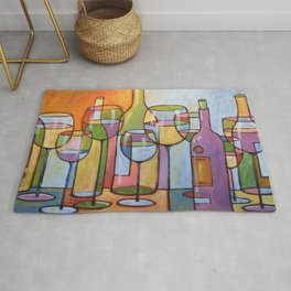 Abstract Art Wine Glasses Alcohol Bar Painting ... Time to Relax Rug