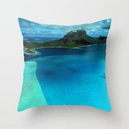 Bora Bora Lagoon Aerial Throw Pillow
