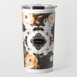 resist moths on dark floral Travel Mug