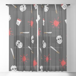 Friday the 13th pattern Sheer Curtain