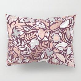 Rose Gold Burgundy Floral Illustration Pattern Pillow Sham