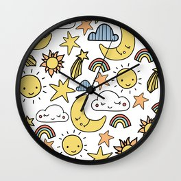 MOON, SUN & RAINBOWS Wall Clock