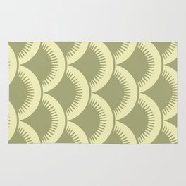 Japanese Fan Pattern Olive and Yellow Rug