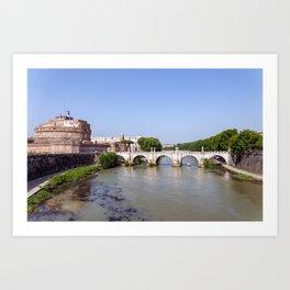 Ponte Sant'Angelo and Castel Sant'Angelo - Rome Art Print