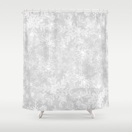 Silver Snowflakes Shower Curtain