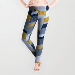Chevron with Textures / Gold Effect and Denim Blue Leggings