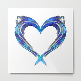 Romantic Abstract Heart Art - Big Blue Love - Sharon Cummings Metal Print