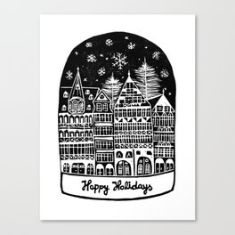 Linocut Holidays Canvas Print