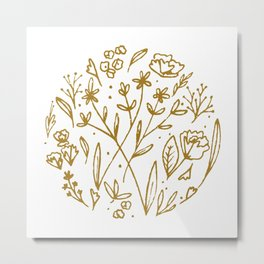 Golden Wildflowers Illustration - Mustard Yellow Rustic Floral Print Metal Print