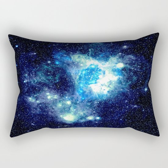 Galaxy NEbula. Teal Turquoise Blue Aqua Rectangular Pillow