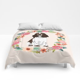 english springer spaniel dog floral wreath dog gifts pet portraits Comforters