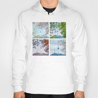 seoul Hoodies featuring Seoul Tower Seasons - Square by Zayda Barros