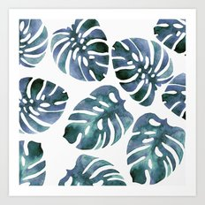 Monstera Blue Art Print