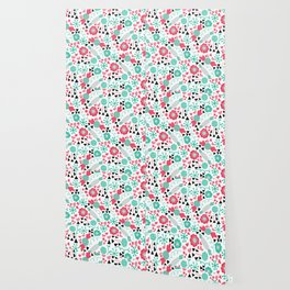 Pinky Candy and Floral Wallpaper