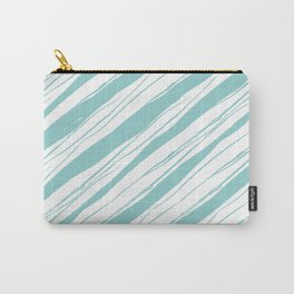 Teal on white rough diagonal stripes pattern Carry-All Pouch