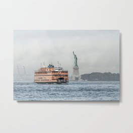 Staten Island Ferry & Statue of Liberty Metal Print