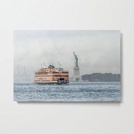 Staten Island Ferry & Statue of Liberty Metal Print