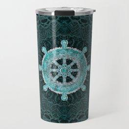 Dharma Wheel - Dharmachakra Silver and turquoise Travel Mug