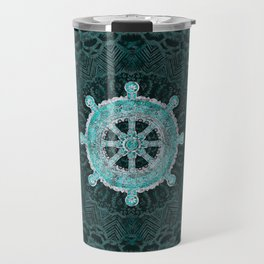 Dharma Wheel - Dharmachakra Silver and turquoise Travel Mug