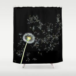Blowing in the Wind Dandelion, Scanography Shower Curtain