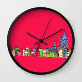 Sketchy Town in pink Wall Clock