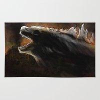 godzilla Area & Throw Rugs featuring Godzilla by Wesley S Abney
