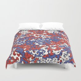 Red blue white camouflage Duvet Cover