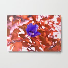 Alien landscape orange autumn surreallist flowers Metal Print