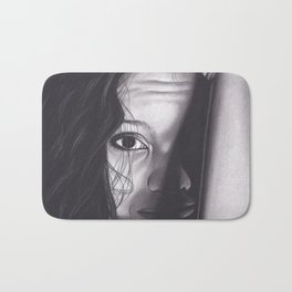 Realism Charcoal Drawing of Woman from Honduras Bath Mat
