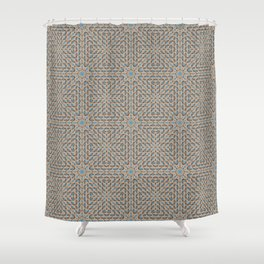Beige and Blue Mosaic Pattern Shower Curtain