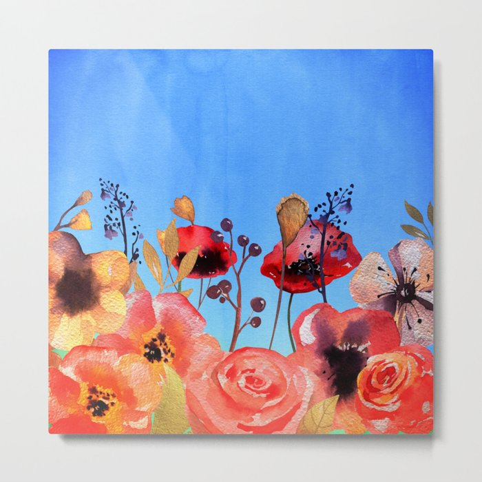 Summer meadow with Flowers and Poppies  in Twilight on #Society6 Metal Print