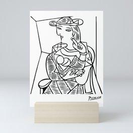 Pablo Picasso Seated Woman Artwork, Posters, Prints, TShirts, Reproduction Sketch, Men, Women, Kids Mini Art Print