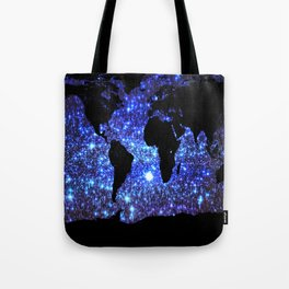 world Map Blue Swirl Galaxy Sparkle Tote Bag