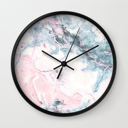 Blue and Pink Marble Wall Clock