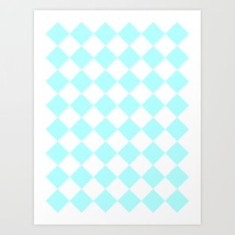 Large Diamonds - White and Celeste Cyan Art Print