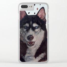 Siberia [ oil on mirror ] Husky dog portrait Clear iPhone Case