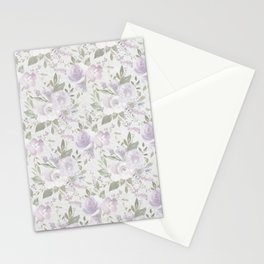 Mauve green lavender blush watercolor boho floral Stationery Cards
