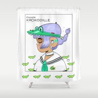 crocodile Shower Curtains featuring Crocodile by Natali Koromoto